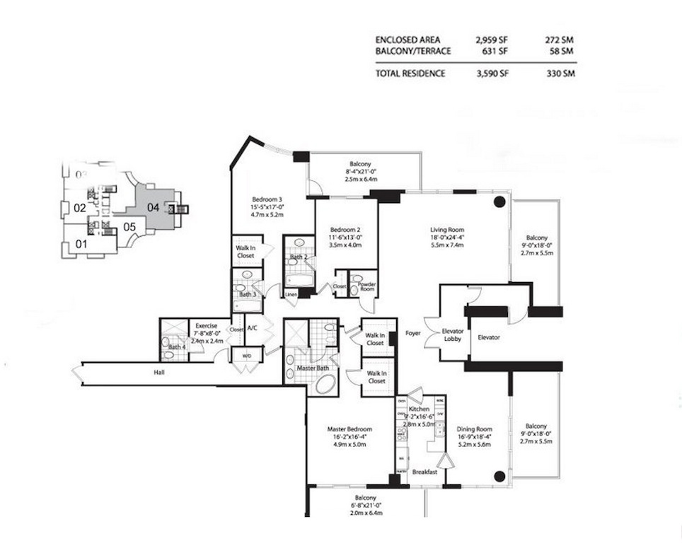 Asia Brickell Key - Floorplan 1