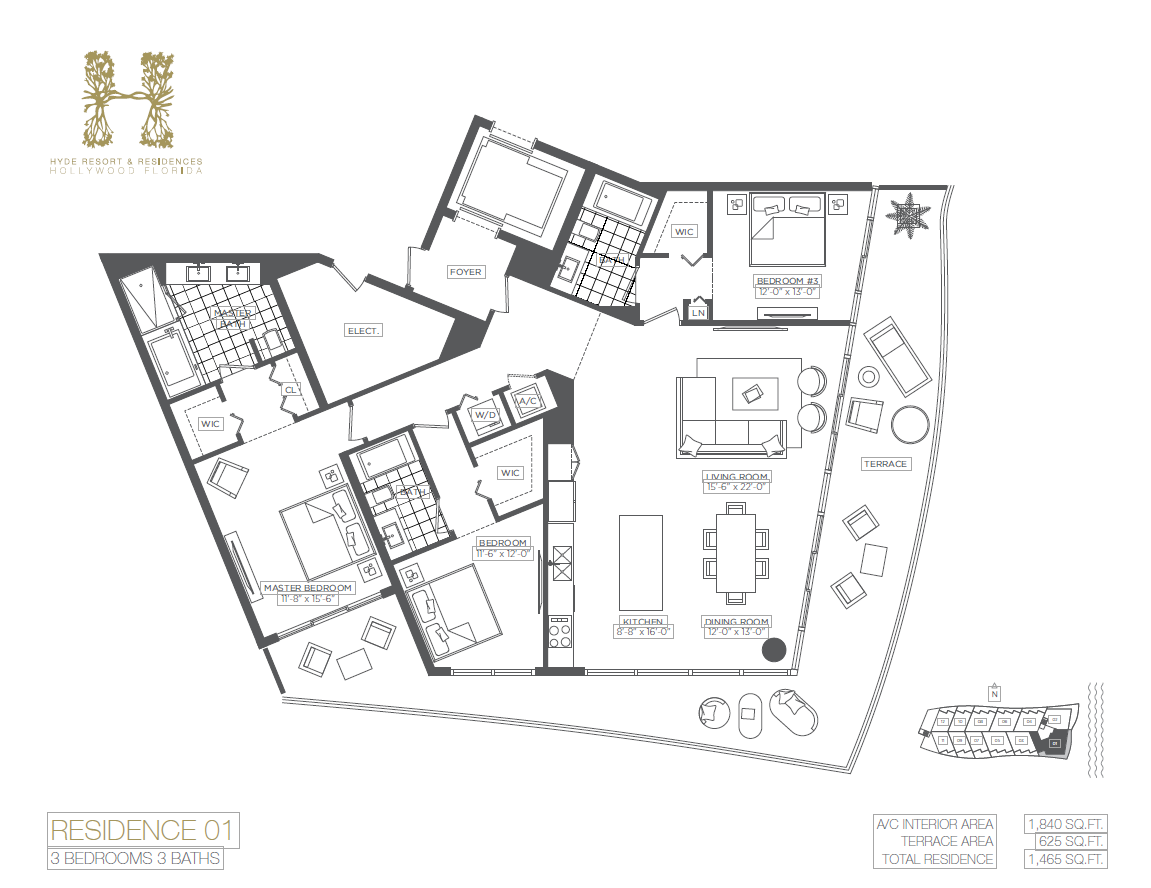 Hyde Beach Resort & Residences - Floorplan 1