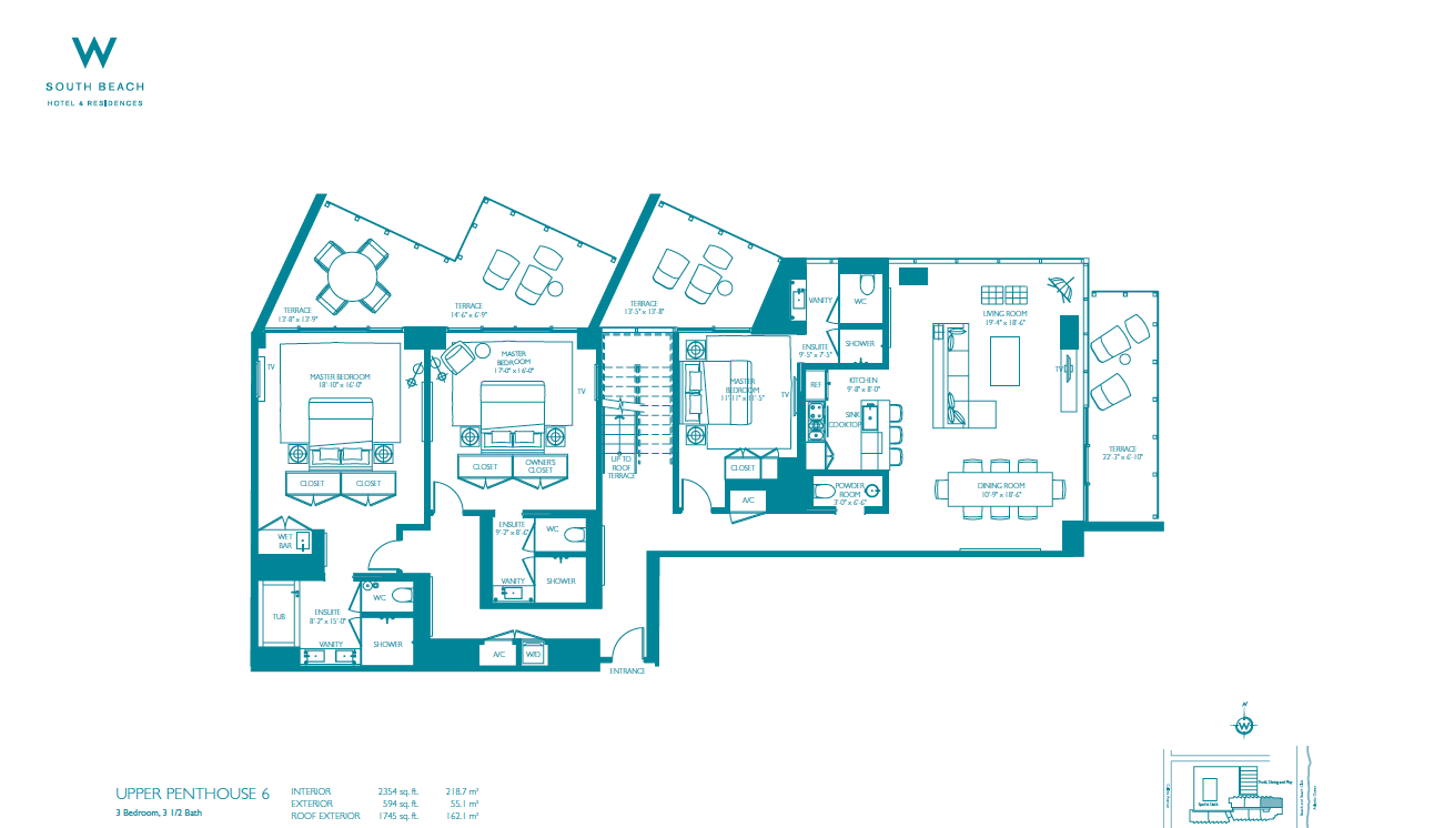 W South Beach - Floorplan 1